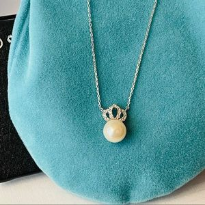 💖NEW Fashion Silver Faux pearl crown Necklace